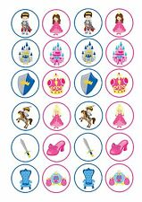 24 Edible cake toppers decorations PRINCESS AND KNIGHTS ND1 SHIELD CASTLE