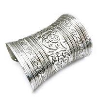 Hot Antique Curved Jewelry Long Wide Vintage Metal Cuff Bracelet Bangle UK