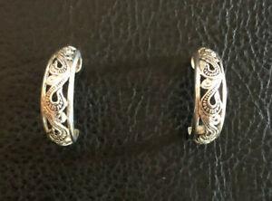 """Sterling Silver Hoop Earrings Scroll Design Oxidized Pattern .75"""" 3g 925 #1878"""