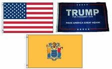 3x5 Trump #1 & Usa American & State of New Jersey Wholesale Set Flag 3'x5'