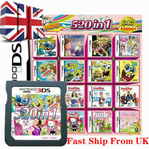 UK 520 in 1 Video Games Cartridge for Nintendo NDS NDSL NDSi 3DS 2DS 3DSLL NDSL