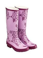 Ladies Tottie Womens Pink Flower Design Welly Wellies Wellington Boots Size 7 UK