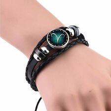 12 Zodiac Signs Bracelets & Bangles Handmade Vintage Punk Leather Bracelet For M