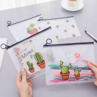 Transparent Pencil Case Bag Cartoon Cactus Office Student School Pen Writing