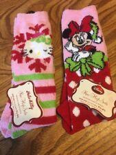 Lot Of 2 Hello Kitty Minnie Mouse Plush Knee High Socks Shoe Sz 7.5- 3.5 Youth