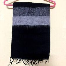 Black Grey Yak Wool Shawl Scarf Wrap Tibetan Nepalese Handmade Nepal YS09
