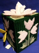 3D flowered plastic canvas boutique size tissue box cover with butterflies
