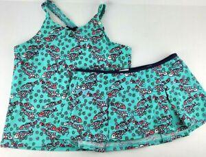 Lands End Girl Size 14+ Teal Fish Flower 2 Piece Halter Tankini Skirt Swimsuit