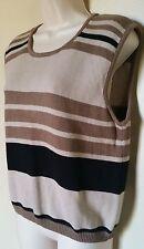 EUC Christopher & Banks 100% Cotton Brown/Beige/Black Sleeveless Sweater/Vest  L