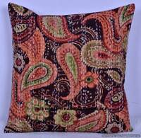 """Indian Ethnic Vintage Cushion Cover Covers Kantha Embroidery Pillow Case 16x16"""""""