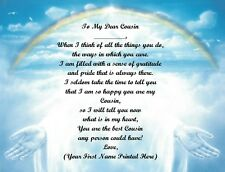 Christmas Gift/ Birthday Gift For Cousin Personalized Poem Gift ~ Rainbow Hands