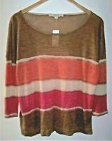 Ann Taylor Loft Striped Top Women's Large 3/4 Sleeve Ramie/Viscose Thin Knit