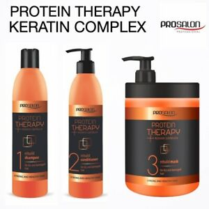 PROTEIN HAIR THERAPY-KERATIN COMPLEX-SHAMPOO-CONDITIONER-MASK-REBUILD TREATMENT