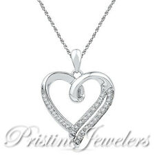 NEW 925 Sterling Silver Heart Necklace CZ Pendant & Chain Women White Black Pave