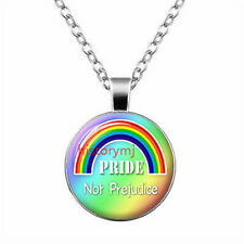 Gay Pride Necklace Same Sex LGBT Silver Jewelry With Rainbow Love Wins New