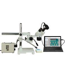 Binocular 10X-20X-40X-80X 10Mp Usb3 Stereo Boom Microscope+20W Dual Fiber Light