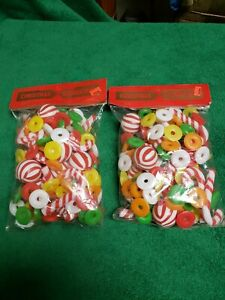 2 Christmas Tree Garland Plastic Lifesavers Candy Canes Ornaments NOS Lot 1