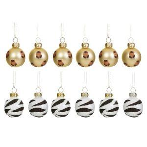 Sass & Belle Leopard Zebra Mini Bauble Hanging Decoration Set Christmas Tree x12