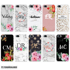 PERSONALISED FLORAL GOLD MARBLE INITIALS NAME CUSTOM HARD CASE FOR APPLE IPHONE