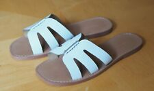 Banana Republic Women's White Leather Bridge Flat Slide Sandals 8.5 New with Box