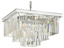 Retro Odeon Crystal Glass Fringe 3-Tier Chandelier Silver Chrome