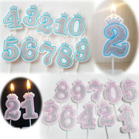 Glitter 0-9 Numbers Happy Birthday Candles Cake Topper Decoration Party Supplies