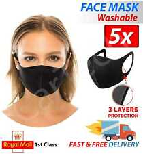 PACK OF 5 FACE MASK BLACK REUSABLE WASHABLE BREATHABLE DUST MOUTH COVER