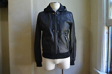 DOLCE&GABBANA D&G COOL RACE BLACK LEATHER BOMBER HOODED JACKET COAT S 50 40 HOT