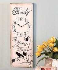 "24"" X 9"" Family Wooden Wall Clock 3D Scrolled Metal Birds Wall Decor"