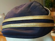 Blue and Gold Military Style Envelope Hat Cap Stewardess Costume Retro Polyester