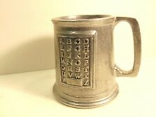 """small pewter """"ABC"""" style child's mug with block letters"""