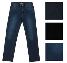 Boys Urban Star Quality Denim Jeans, Black or Blue. Slim Fit, adjustable waist