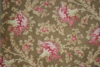 French fabric 1860-70 stylized floral printed design cotton curtain rings small