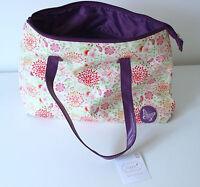 Ladies Bag with Liner & Zipper Pocket & Purple Handle Sophia Floral Design