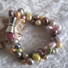 "8"" 7-9mm Multi Color Baroque 2Row Freshwater Pearl Bracelet"