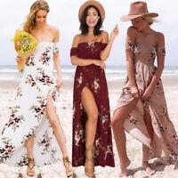Boho Hippie Maxikleid Strandkleid schulter-rückenfrei Kleid Sommerkleid BC376