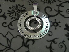 Personalised Hand Stamped Family Names Any Wording  Mother Grandmother Pendant