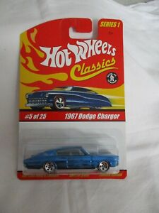 Hot Wheels Classics Series 1 1967 Dodge Charger Blue Variation Mint In Card