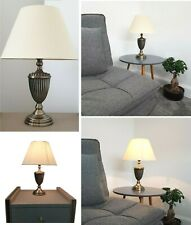 Vintage Table Lamp Antique Brass Bedside Lounge Light Lamps Cotton Shade 44x31cm