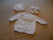 White  Sweater Hat Booties fits  Baby Dolls 19 to 21in.