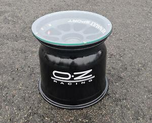 OZ Racing wheel glass top coffee side table car racing man cave den office gift