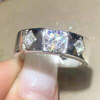 Men's Three-Stone 1.00Ct Round Cut Diamond Engagement Ring 14K White Gold Finish