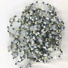 18' Silver Iridescent Beaded Accents Christmas Tree Garland Acrylic & Metal
