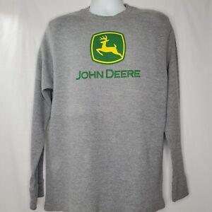 John Deere Thermal Shirt Gray Long Sleeves Size XL Mens