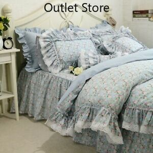 Flowers Bedding Set Lace Ruffle Duvet Cover Embroidery Sheet Pastoral Bed Skirt
