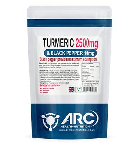 Turmeric curcumin 2500mg and Black Pepper Extract 10mg VEGETARIAN 365 Tablets
