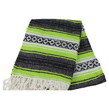 Mexican Falsa Blanket In Lime And Grey Theme Throw Mat Yoga Rug New Genuine