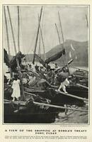 Shipping Port Korea Fusan Ships Saillors 1904 old print