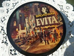 """EVITA  BROADWAY  ( 1981 ) SOUVENIR  ROUND CONTAINER NOTIONS CONTAINER  4"""" Wide"""
