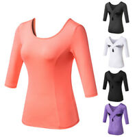 Women's Middle Length Sleeves Running Yoga GYM Slim Round Neck Quick Drying Tops